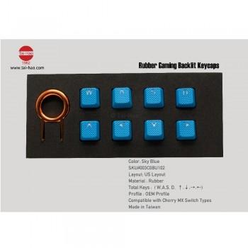 Tai-Hao Rubber Gaming Backlit Keycaps-18 keys/8 keys Sky Blue